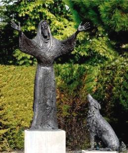 Beeld van Franciscus van Assisi in de Bijbelse Tuin in Hoofddorp