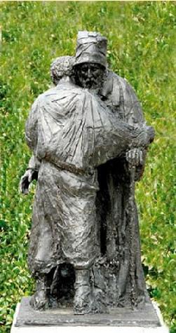 Beeld van de verloren zoon in de Bijbelse Tuin in Hoofddorp